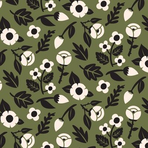 Modern Floral Liberty Print - Olive