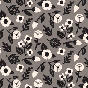 Modern Floral Liberty Print - Taupe