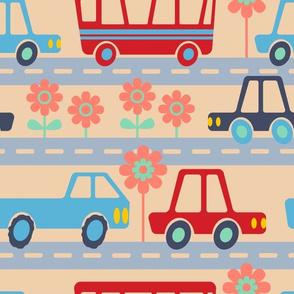 Kawaii City Kids Traffic Vehicles Red Blue Green