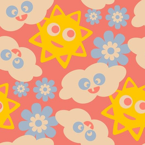 Kawaii City Kids Clouds Sun Yellow Red Blue White