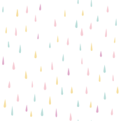Soft pastel rain drops in pink, mint, yellow and taupe . April showers design challenge.