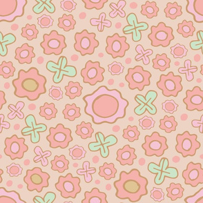 Childrens Floral Pink Green Brown