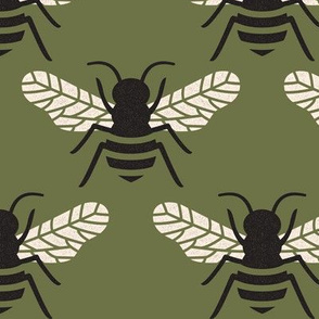 Bumblebee - Cream and Black on Olive