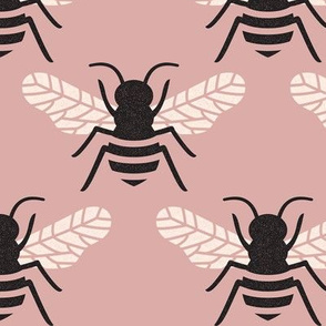 Bumblebee - Black and Cream on Dusty Rose