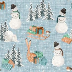 Woodland Winter Snowman // Geyser Blue Linen