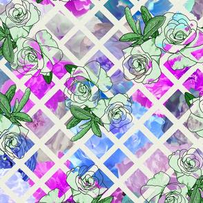 Blue Flower Show Trellis with Camellias