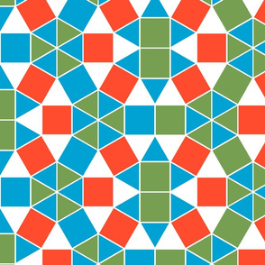 Squares and Triangles in Trendy1970s Colors Blue Green and Red