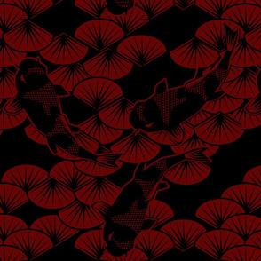 koi papercuts maroon black