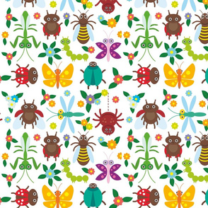 Funny insects Spider butterfly caterpillar dragonfly mantis beetle wasp ladybugs seamless pattern on white background with flowers and leaves.