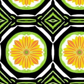 Sunny Daisy Flowers on Retro Terrace Tiles - Large Scale