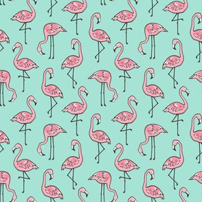 Flamingos on Mint Smaller  2 inch