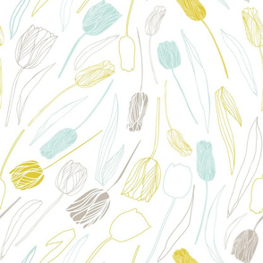 Tulips in pastel yellow, mint and taupe on white