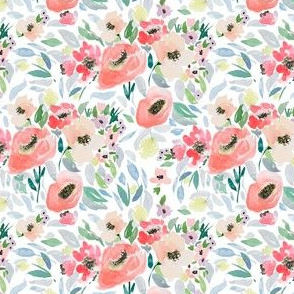 """4"""" Blooming Spring Garden in Peach and Blue"""