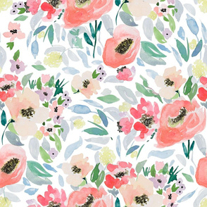 """21"""" Blooming Spring Garden in Peach and Blue"""