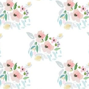 """4"""" Blush and Sky Blue Florals"""