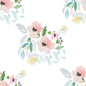 """8"""" Blush and Sky Blue Florals"""