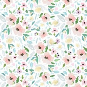 "4"" Blush and Sky Blue Florals Free Falling"