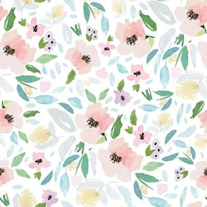 """8"""" Blush and Sky Blue Florals Free Falling"""