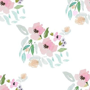"""8"""" Violet and Teal Watercolor Florals"""