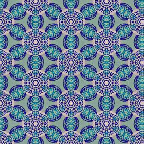 african flower motif blue - large