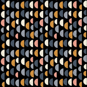 Retro mid-century geometric semi circles with texture in pink, mustard yellow, off white and black