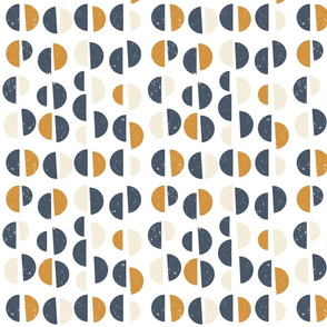 Retro mid-century geometric semi circles with texture in mustard yellow,navy blue and  beige on white