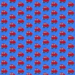 Red Cars on Blue
