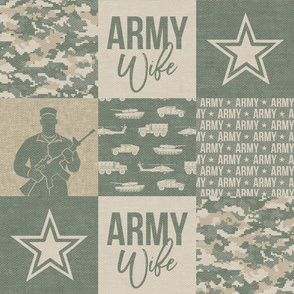 Army Wife - Patchwork fabric - Soldier Military - OG light digital camo  - LAD19