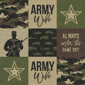 Army Wife - Patchwork fabric (always under the same sky) - Soldier Military - OG  camo  - LAD19