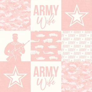 Army Wife - Patchwork fabric  - Soldier Military - light pink - LAD19