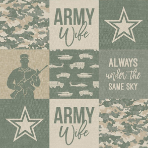 Army Wife - Patchwork fabric (always under the same sky) - Soldier Military - OG light digital camo  - LAD19