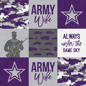 Army Wife - Patchwork fabric (always under the same sky) - Soldier Military - Purple and camo - LAD19