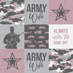 Army Wife - Patchwork fabric (always under the same sky) - Soldier Military - mauve and camo - LAD19