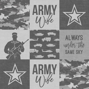 Army Wife - Patchwork fabric (always under the same sky) - Soldier Military - grey and camo - LAD19