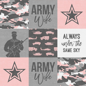 Army Wife - Patchwork fabric (always under the same sky) - Soldier Military - pink and grey camo  - LAD19