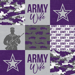 Army Wife - Patchwork fabric  - Soldier Military - Purple and camo - LAD19