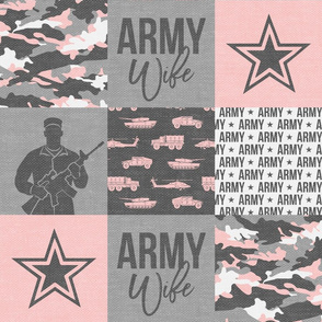 Army Wife - Patchwork fabric  - Soldier Military - pink and grey camo (90) - LAD19