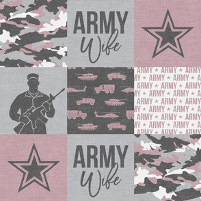 Army Wife - Patchwork fabric - Soldier Military - mauve and camo - LAD19