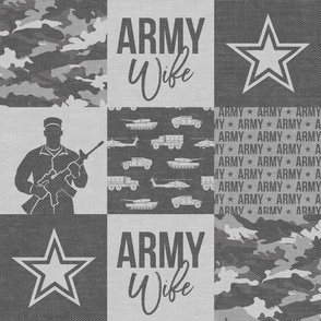 Army Wife - Patchwork fabric  - Soldier Military - grey and camo - LAD19