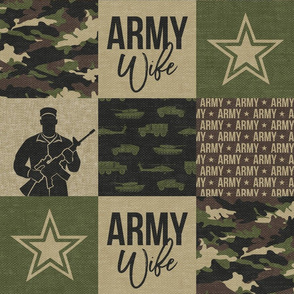 Army Wife - Patchwork fabric - Soldier Military - OG  camo  - LAD19