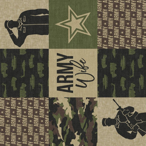 Army Wife - Patchwork fabric  - Soldier Military - OG  camo (90)  - LAD19