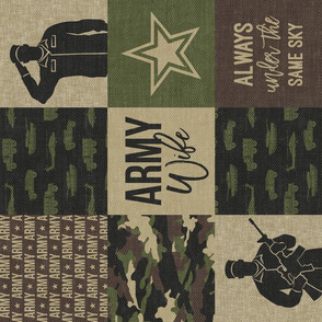 Army Wife - Patchwork fabric (always under the same sky) - Soldier Military - OG  camo (90)  - LAD19