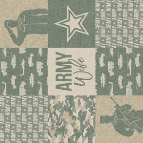 Army Wife - Patchwork fabric - Soldier Military - OG light digital camo (90) - LAD19