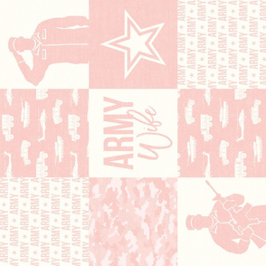 Army Wife - Patchwork fabric  - Soldier Military - light pink (90)- LAD19