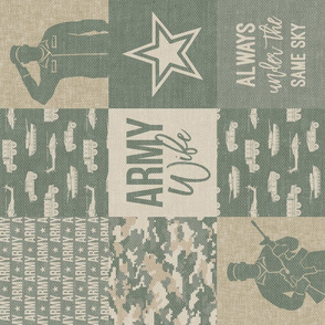 Army Wife - Patchwork fabric (always under the same sky) - Soldier Military - OG light digital camo (90) - LAD19