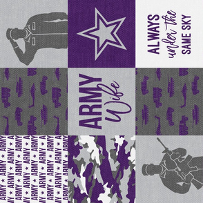 Army Wife - Patchwork fabric (always under the same sky) - Soldier Military - Purple and camo - LAD19 (90)