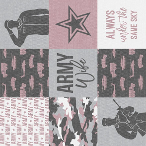 Army Wife - Patchwork fabric (always under the same sky) - Soldier Military - mauve and camo (90) - LAD19