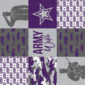 Army Wife - Patchwork fabric  - Soldier Military - Purple and camo - LAD19 (90)