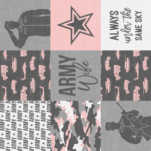 Army Wife - Patchwork fabric (always under the same sky) - Soldier Military - pink and grey camo (90) - LAD19