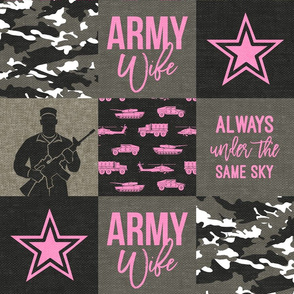 Army Wife - Patchwork fabric (always under the same sky) - Soldier Military - Bright Pink and camo - LAD19